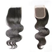 Capelli Hair(TM) Brazilian Virgin Hair 8-46cm Lace Closure (10cm ×10cm )Brazilian Body Wave Free Part Silk Base Closure Natural Colour