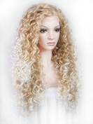 Ebingoo Halloween Lace Front Wig Fashion Women's Synthetic Hair Blonde Mix White Curly Wavy Heat Resistant Party Wigs N18 27HY JLS372