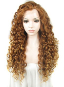 Ebingoo Halloween Lace Front Wig Women's Synthetic Hair Long Golden Mix Brown Curly Wavy Heat Resistant Party Wigs N18 30+27HR JLS371