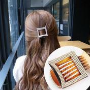 Akak Store 1 Pcs Beauty Square Hair Clip Acrylic Rhinestone Hair Clip for Women Hair Claw Clip(Brown)