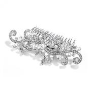 Mariell Silver Rhodium Bridal, Prom or Wedding Crystal Comb with Vintage Scroll Design