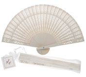 20cm White Chinese Folding Wood Panel Hand Fan w/ White Organza Bag for Weddings