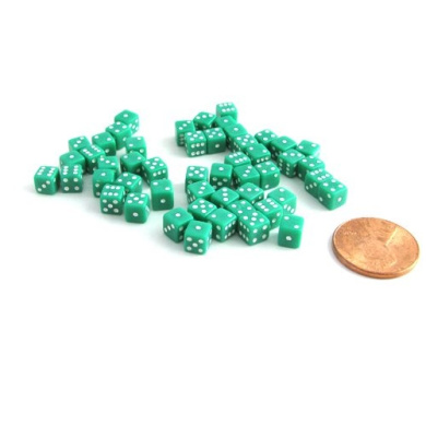50 Six Sided D6 5mm .197 Inch Die Small Tiny Mini Miniature Green Dice