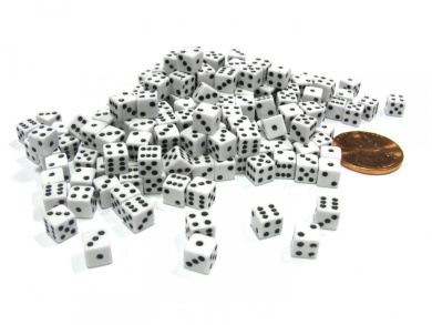 200 Six Sided D6 5mm .197 Inch Die Small Tiny Mini Miniature White Dice