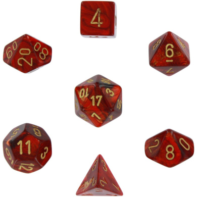 Polyhedral 7-Die Scarab Chessex Dice Set - Scarlet with Gold Numbers