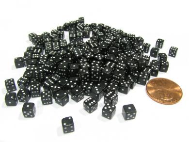 200 5mm .197 Inch Six Sided D6 Die Small Tiny Mini Miniature Black Dice