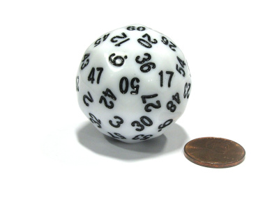Sixty-Sided D60 35mm Large Gaming Dice - White with Black Numbers