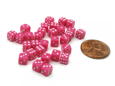 30 Deluxe Rounded Corner Six Sided D6 5mm .197 Inch Small Tiny Dice - Pink