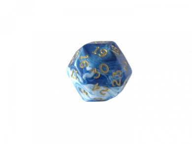 Triantakohedron D30 30 Sided 25mm Chessex Dice - Marbleized Blue w/ Gold Numbers