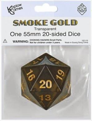 Dice: Smoke Gold Spindown D20