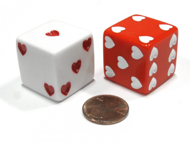 Set of 2 Heart Pip D6 25mm Large Opaque Jumbo Love Dice - 1 Red and 1 White