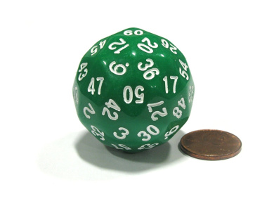 Sixty-Sided D60 35mm Large Gaming Dice - Green with White Numbers
