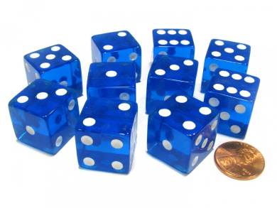 Set of 10 D6 Square Edged 19mm Dice - Transparent Blue with White Pips