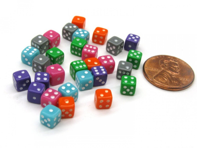 30 Deluxe Rounded Corner Six Sided D6 5mm .197 Inch Small Tiny Dice - 5 Assorted