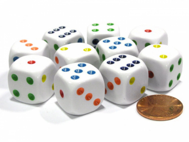 Set of 10 Six Sided Round Edge Opaque 16mm D6 Dice - White with Multicolor Pip