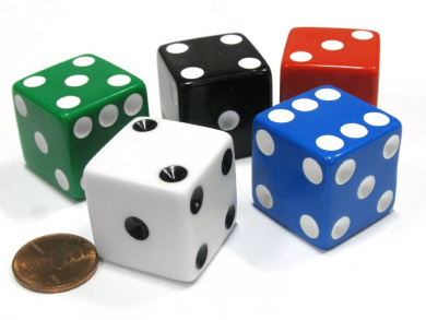 Set of 5 Jumbo Large Six Sided Square Opaque 25mm D6 Dice - 5 Assorted Colours