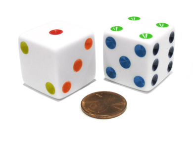 Set of 2 D6 25mm Large Opaque Jumbo Dice - White with Multicolor Pips