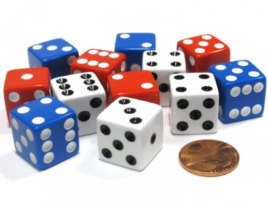 Set of 12 Six Sided 16mm D6 Dice - Patriotic USA 4 Each of Red White & Blue