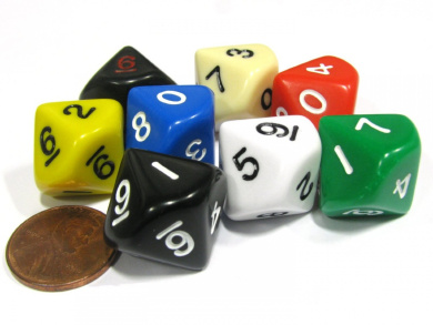 Set of 8 D10 10-Sided 20mm Opaque RPG Dice - Assortment of Colours
