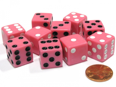 Set of 10 D6 16mm Dice, Inversed Pips- 5 Pink w White Pip and 5 Pink w Black Pip
