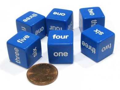 Set of 6 D6 16mm Word Number Dice - Math Educational Die - Blue with White Pip