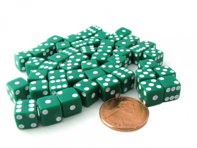 Set of 50 8mm Six-Sided D6 Small Square-Edge Dice - Green with White Pips