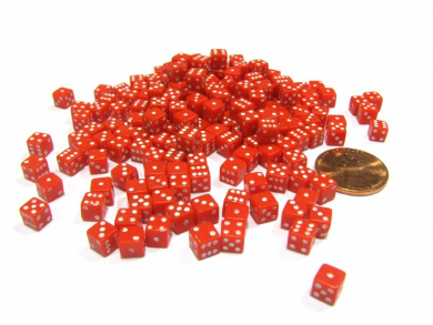 200 Six Sided D6 5mm .197 Inch Die Small Tiny Mini Miniature Red Dice
