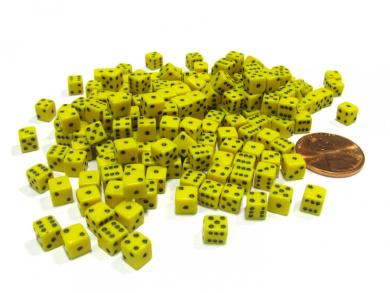200 Six Sided D6 5mm .197 Inch Die Small Tiny Mini Miniature Yellow Dice