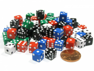 Set of 100 8mm Six-Sided D6 Small Square-Edge Dice - Assortment of Five Colours