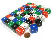 50 Large 19mm D6 Dice (Over 0.5kg of Dice)-10 Ea of Blue Black Green Red White