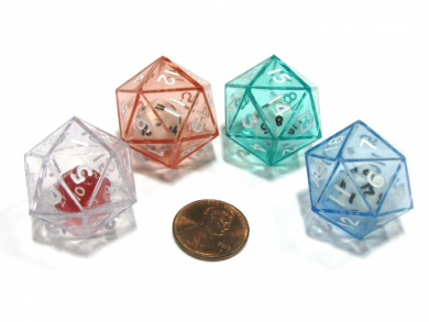 Set of 4 D20 24mm Double Dice, 2-In-1 Dice - of Green Red Blue Clear