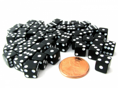 Set of 50 8mm Six-Sided D6 Small Square-Edge Dice - Black with White Pips