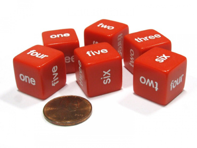 Set of 6 D6 16mm Word Number Dice - Math Educational Die - Red with White Pip