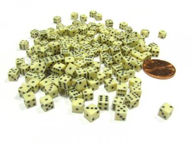 200 Six Sided D6 5mm .197 Inch Die Small Tiny Mini Miniature Ivory Dice