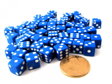 Set of 50 8mm Six-Sided D6 Small Square-Edge Dice - Blue with White Pips
