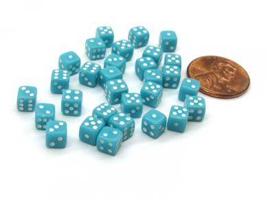 30 Deluxe Rounded Corner Six Sided D6 5mm .197 Inch Small Tiny Dice - Light Blue