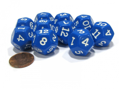 Set of 10 D12 12-Sided 20mm Opaque RPG Dice - Blue with White Numbers