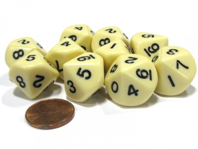 10 Piece Set of 10-Sided D10 Polyhedral Dice - Ivory with Black Numbers