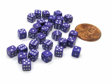30 Deluxe Rounded Corner Six Sided D6 5mm .197 Inch Small Tiny Dice - Purple