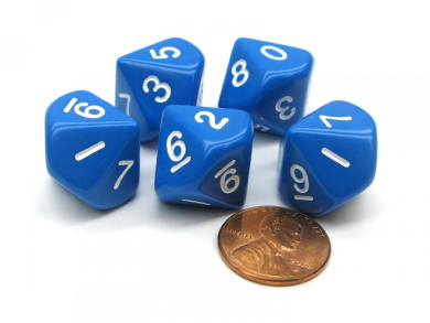 Set of 5 D10 10-Sided 16mm Opaque RPG Dice - Blue with White Numbers