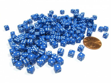 200 Six Sided D6 5mm .197 Inch Die Small Tiny Mini Miniature Blue Dice