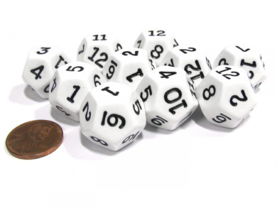 Set of 10 D12 12-Sided 20mm Opaque RPG Dice - White with Black Numbers