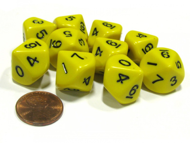 10 Piece Set of 10-Sided D10 Polyhedral Dice - Yellow with Black Numbers