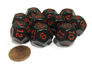 Set of 10 D12 12-Sided 20mm Opaque RPG Dice - Black with Red Numbers
