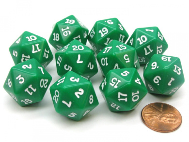Set of 10 Twenty Sided 20mm D20 Opaque RPG Dice - Green with White Numbers Die