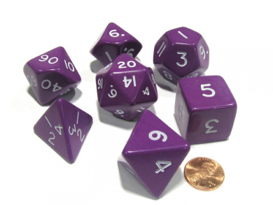 Purple Jumbo Size 7 Pc Polyhedral Dice Set D4, D6, D8, 2xd10, D12, D20 KPL05857 KOPLOW GAMES