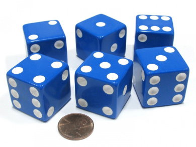 Set of 6 D6 25mm Large Opaque Jumbo Dice - Blue with White Pip