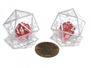 Set of 2 D20 24mm Double Dice, 2-In-1 Dice - Red Inside Clear Die