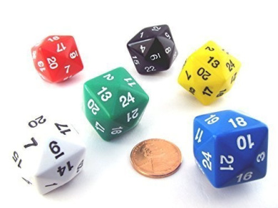 Set of 6 D24 24mm Dice-Assorted-1 Each of Red, White, Blue, Black, Green, Yellow