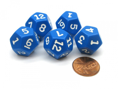 Set of 5 D12 12-Sided 18mm Opaque RPG Dice - Blue with White Numbers